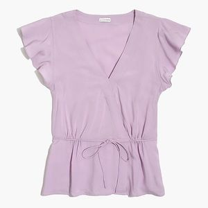 J Crew Flutter Sleeve Faux Wrap Top in Lilac